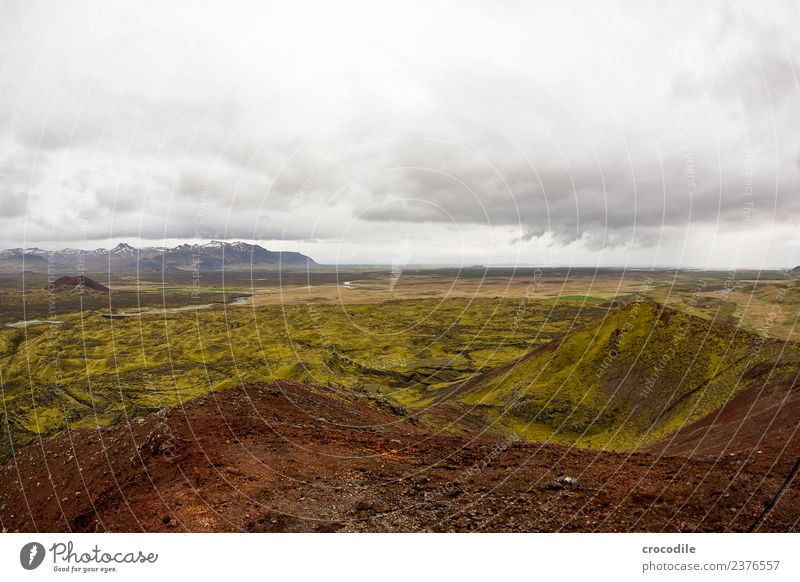 Iceland I Dark Volcano Belt highway Moss Lichen Mountain Lava Eruption Green Panorama (View) Hiking Climbing Vantage point River Peak Snowcapped peak
