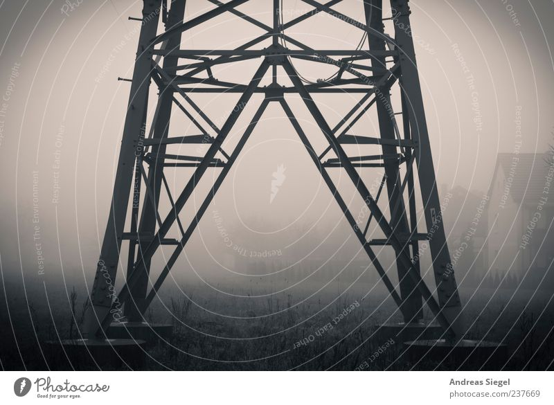Energy Energy industry Electricity pylon Environment Nature Weather Bad weather Fog Field Village House (Residential Structure) Building Apartment Building