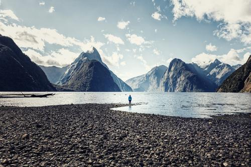 Milford Sound, baby! Feminine Young woman Youth (Young adults) Woman Adults Body Landscape Water Sky Summer Beautiful weather Coast Fjord Simple Freedom