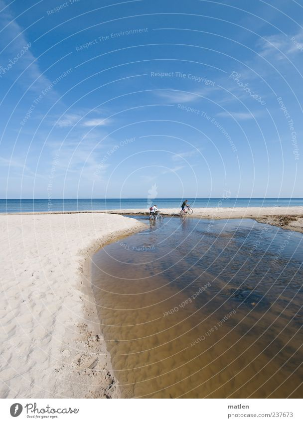 seafarers Trip Cycling tour Summer Beach Ocean Human being 2 Landscape Sand Water Sky Clouds Beautiful weather Coast River bank Baltic Sea Relaxation Bright