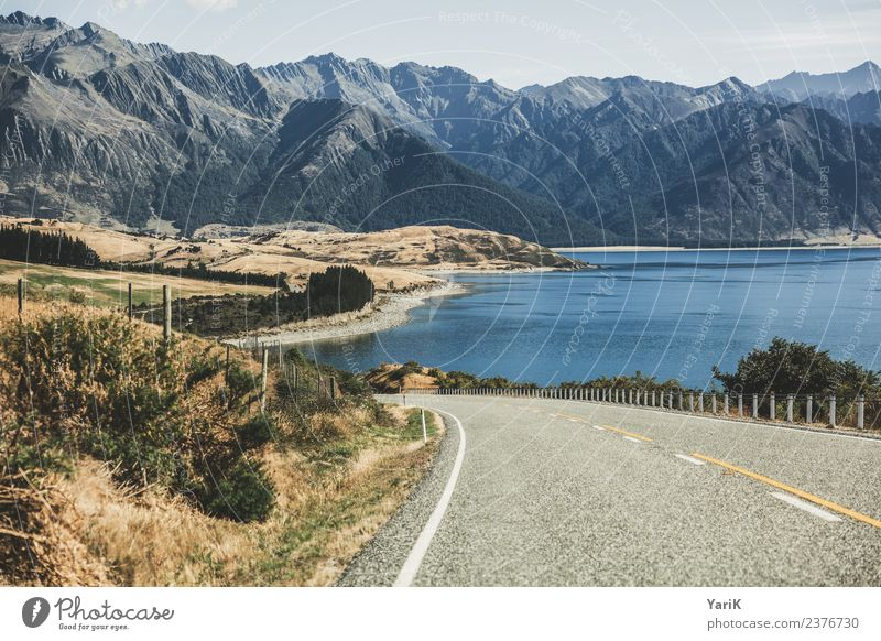 on the road again Landscape Water Horizon Summer Beautiful weather Mountain Lakeside Traffic infrastructure Motoring Street Freedom Tourism New Zealand