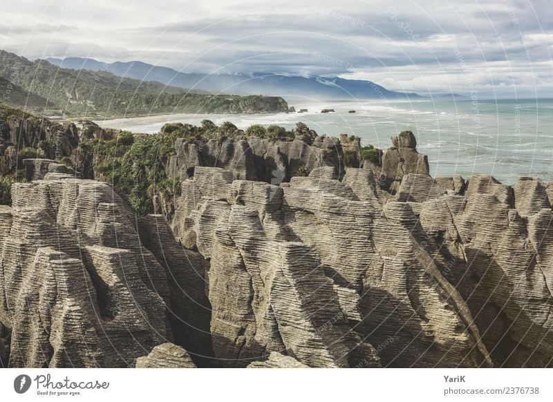 Pancake Rocks Vacation & Travel Tourism Trip Adventure Far-off places Freedom Sightseeing Nature Landscape Water Sky Storm clouds Summer Waves Coast Beach Ocean