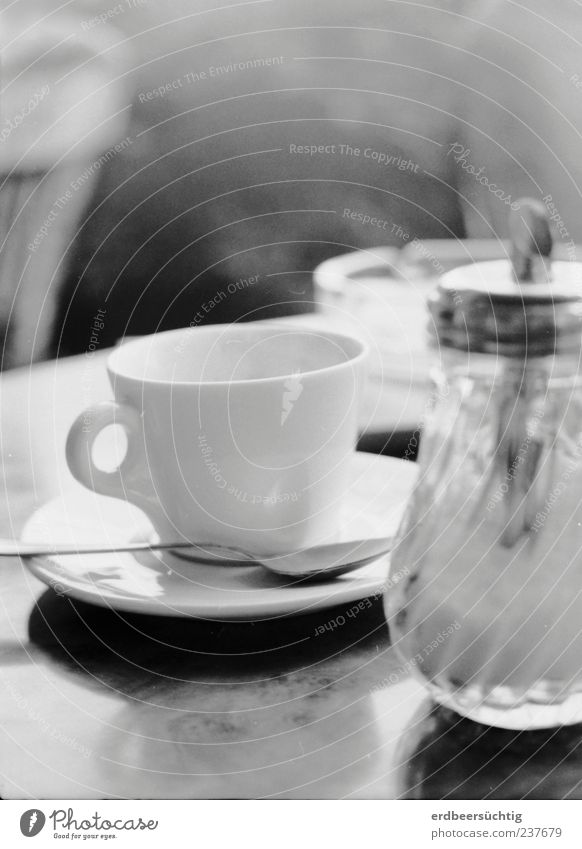 coffee and cigarettes Food Coffee Crockery Cup Ashtray Sugar caster Teaspoon Glass Relaxation Vice Calm To enjoy Table Cigarette smoke Modest