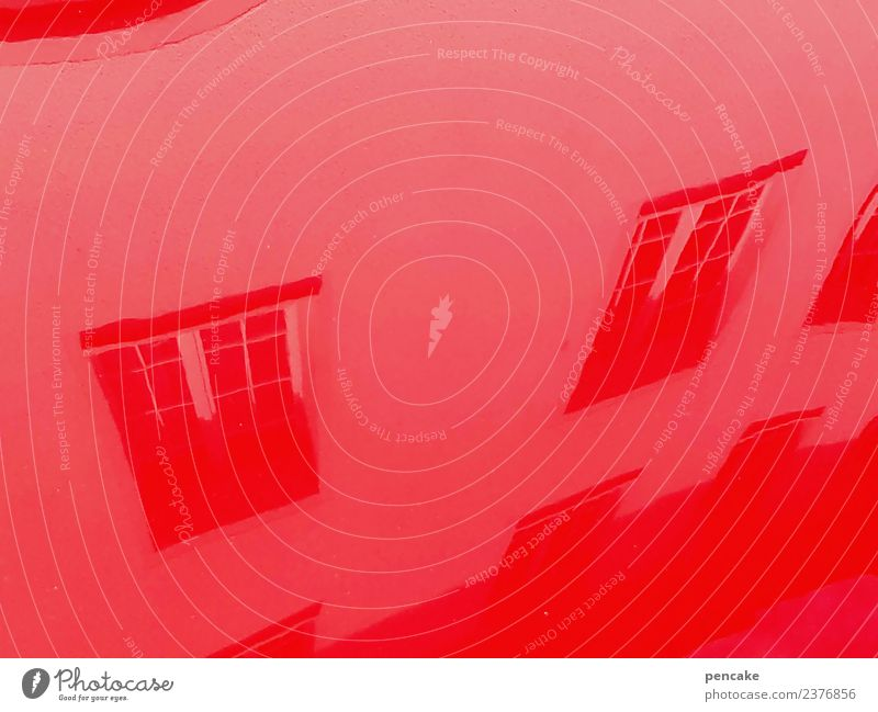 Red House (Residential Structure) Window Building Facade Car Metal Glittering Crazy Old town Mirror Mirror image Distorted Car Hood Opposite Inverted