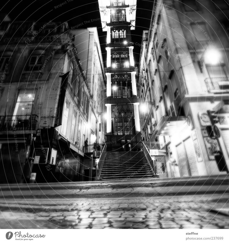 lurp imitate Lisbon Portugal Old town Deserted Tourist Attraction Landmark Santa Justa Lift Town Alcohol-fueled Stagger Cobblestones Black & white photo