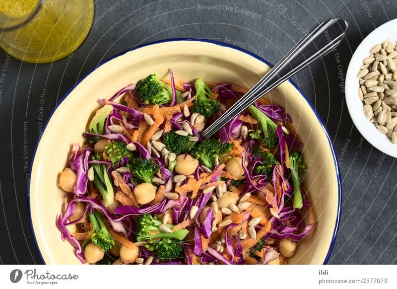 Red Cabbage, Chickpea, Carrot and Broccoli Salad Healthy Nutrition Fresh Cooking Vegetable Meal Vegetarian diet Horizontal Raw Snack Pulse