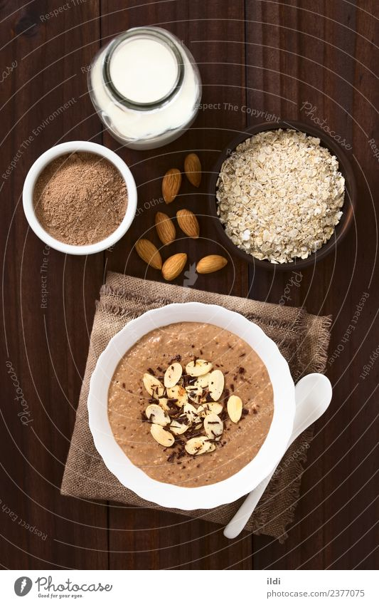Chocolate Oatmeal or Oat Porridge Dairy Products Dessert Nutrition Breakfast Healthy food porridge oat oatmeal chocolate cacao milk Pudding groats Cereal grain