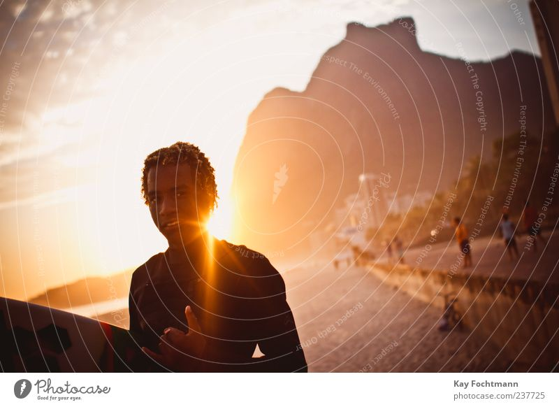 Human being Youth (Young adults) Ocean Beach Style Masculine Esthetic Cool (slang) Young man Smiling Brazil Americas Surfing Exotic South America Surfer
