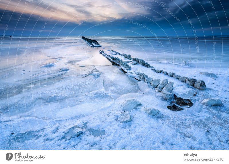 frozen breakwater in ice on Ijsselmeer lake, Netherlands Vacation & Travel Ocean Winter Nature Landscape Sky Clouds Horizon Weather Wind Ice Frost Coast Lake