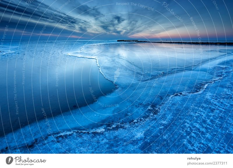 half frozen big lake in dusk, IJsselmeer, Netherlands Winter Nature Landscape Sky Horizon Weather Wind Coast Lake Wood Blue Serene water Break water Frozen ice