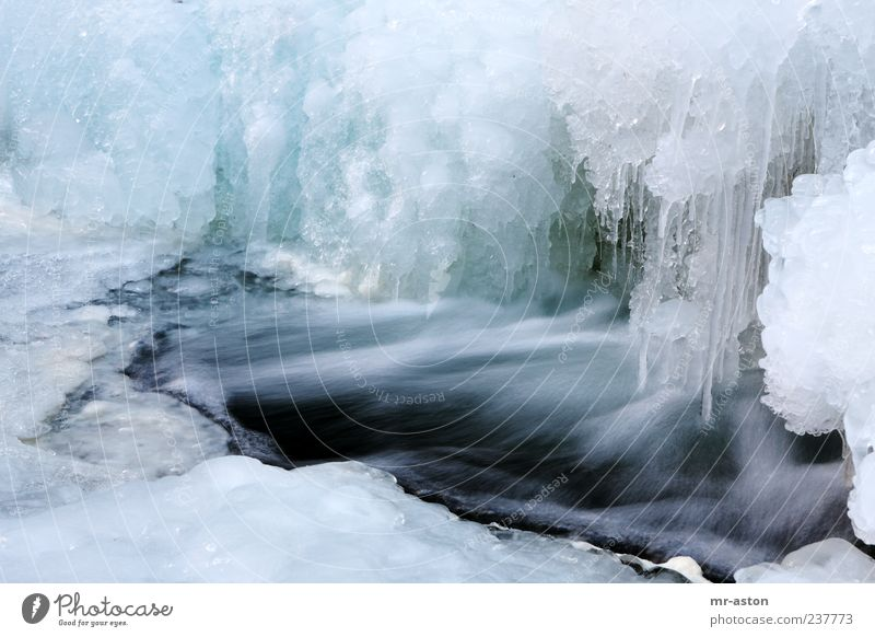 Icy Water Environment Nature Landscape Elements Winter Ice Frost Brook Waterfall Exceptional Fluid Fresh Wet Blue White Cold Climate Colour photo Exterior shot
