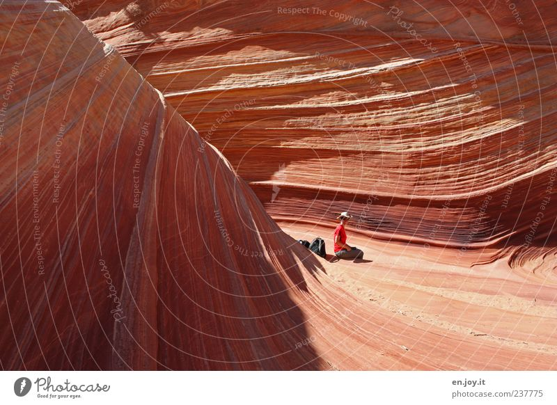 wonder of nature Vacation & Travel Adventure Woman Adults 1 Human being Nature Rock Canyon Desert Sit Exceptional Orange Joie de vivre (Vitality) Wanderlust