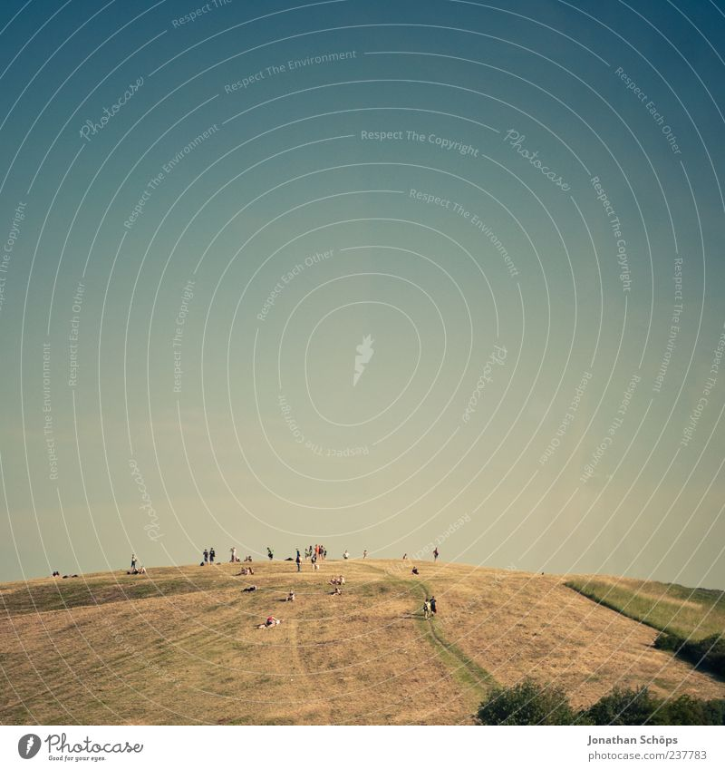 hill tribe Summer Human being Group Crowd of people Landscape Sky Cloudless sky Together Hill Relaxation Field Square The Assumption Leisure and hobbies