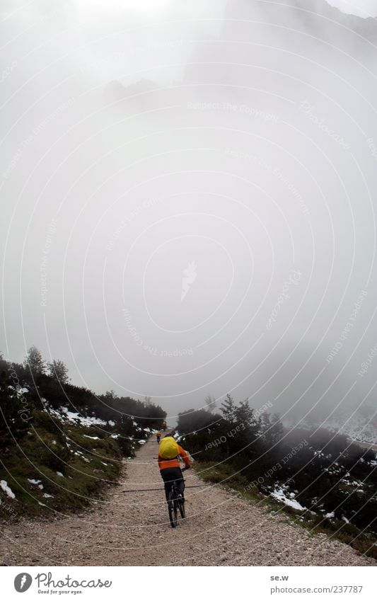 Human being Clouds Cold Autumn Mountain Lanes & trails Gray Alps Cycling Bad weather Backpack Bavaria Mountain biking Chalk alps Karwendelgebirge