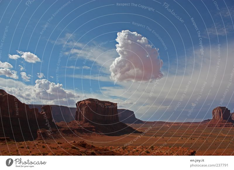 Nature Blue White Vacation & Travel Clouds Far-off places Landscape Freedom Dream Moody Horizon Brown Rock Exceptional Desert Surrealism