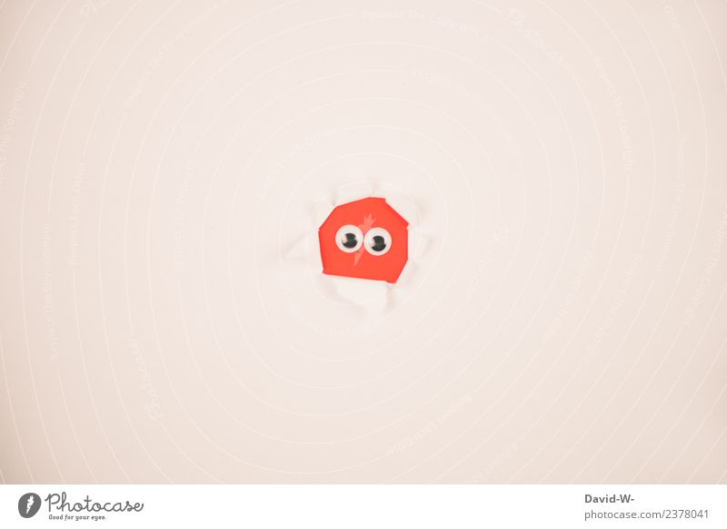 I see you Lifestyle Style 1 Human being Art Observe Communicate Looking Hide Hiding place Spy Informer Cute Monster Figure Paper Saucer-eyed Eyes Red Funny