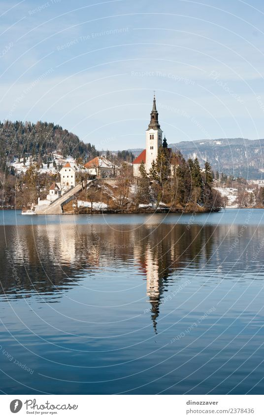 Lake Bled, Slovenia Beautiful Vacation & Travel Tourism Island Winter Snow Mountain Nature Landscape Sky Tree Park Forest Hill Rock Alps Village Church Castle