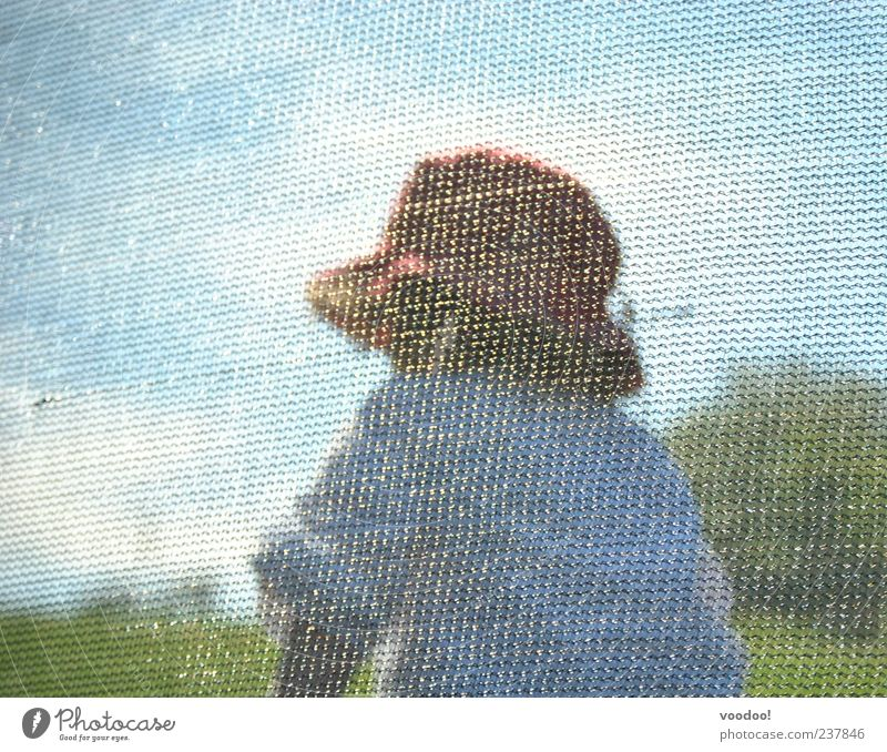 Mosaic of life Child Girl Infancy 1 Human being 3 - 8 years Painting and drawing (object) Nature Landscape Sky Sunlight Shirt Hat Jump Blue Gray Green White