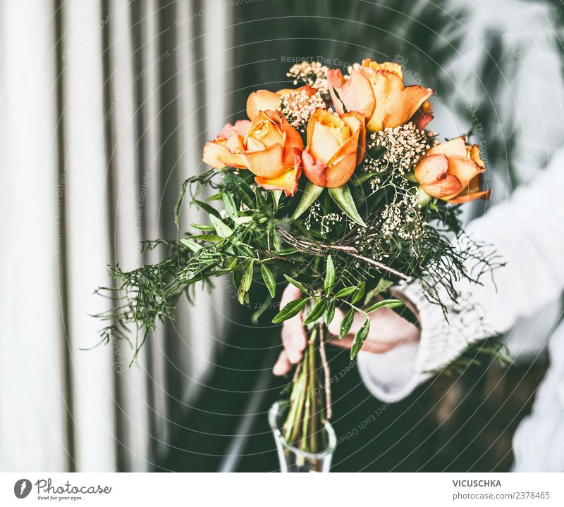 Female hand with roses bouquet of flowers Style Design Living or residing Interior design Decoration Event Human being Feminine Woman Adults Hand Flower Rose