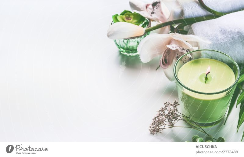 Green candle, flowers and spa accessories Style Design Beautiful Personal hygiene Cosmetics Wellness Well-being Relaxation Meditation Fragrance Spa Massage