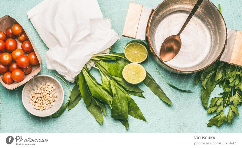 Ingredients for seasonal dishes with wild garlic Food Nutrition Lunch Dinner Organic produce Vegetarian diet Diet Style Design Healthy Healthy Eating Kitchen