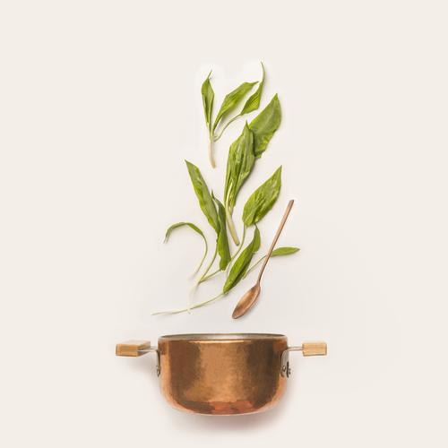 Wild garlic with pot and cooking spoon Food Vegetable Herbs and spices Nutrition Organic produce Vegetarian diet Diet Pot Spoon Style Design Healthy Eating