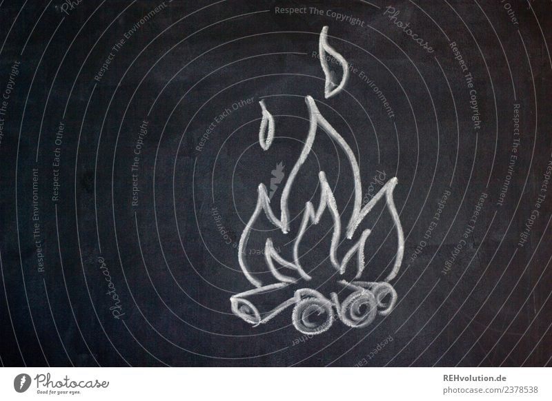 Table drawing   Campfire Fire Hot Fireplace Burn Flame Passion Wood Painted Drawing Illustration Blackboard Chalk Colour photo Subdued colour Copy Space left