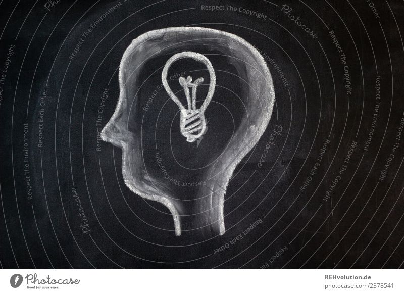 Sheet drawing | Idea Human being Head 1 Art Electric bulb Think Exceptional Drawing Blackboard Chalk Philosopher Illustration Painted White Planning