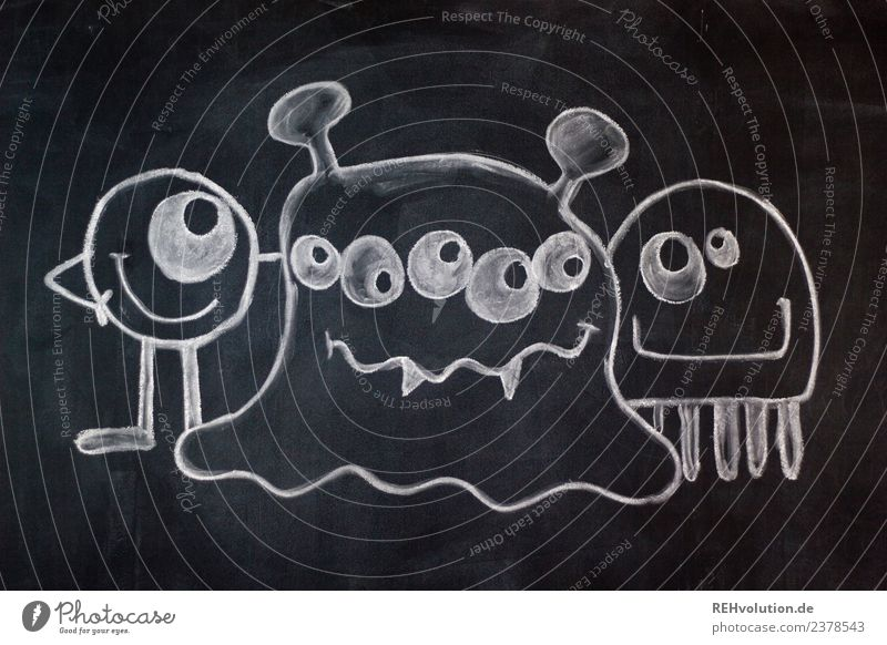 Table Art Monsters Blackboard White Idea Creativity Character Versatile Exceptional 3 people Group Together Painted Drawing Chalk drawing Eyes Difference Creepy