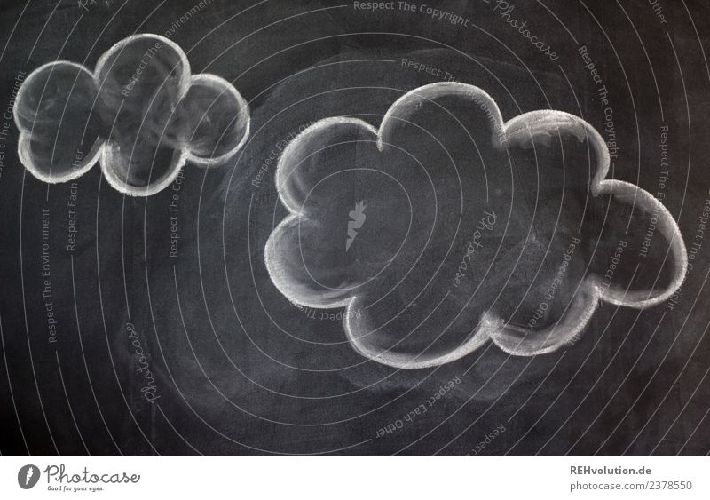 White Clouds Black Think Creativity Idea Painted Inspiration Blackboard Chalk Thought
