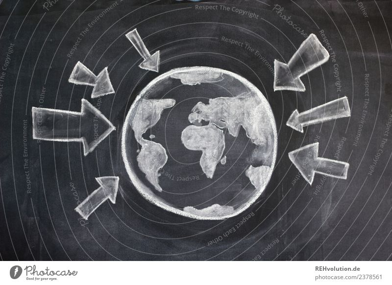 Sheet drawing | World with arrows Sphere Arrow Environment Environmental pollution Environmental protection Earth Planet Globe Pressure Signage Geography