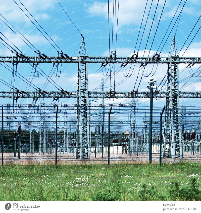 high voltage Industry Energy industry Technology Energy crisis Environment Sky Dangerous Electricity High voltage power line Electricity generating station