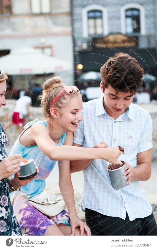 Family spending time together in the city centre Dessert Ice cream Eating Lifestyle Joy Happy Beautiful Leisure and hobbies Vacation & Travel Summer Girl