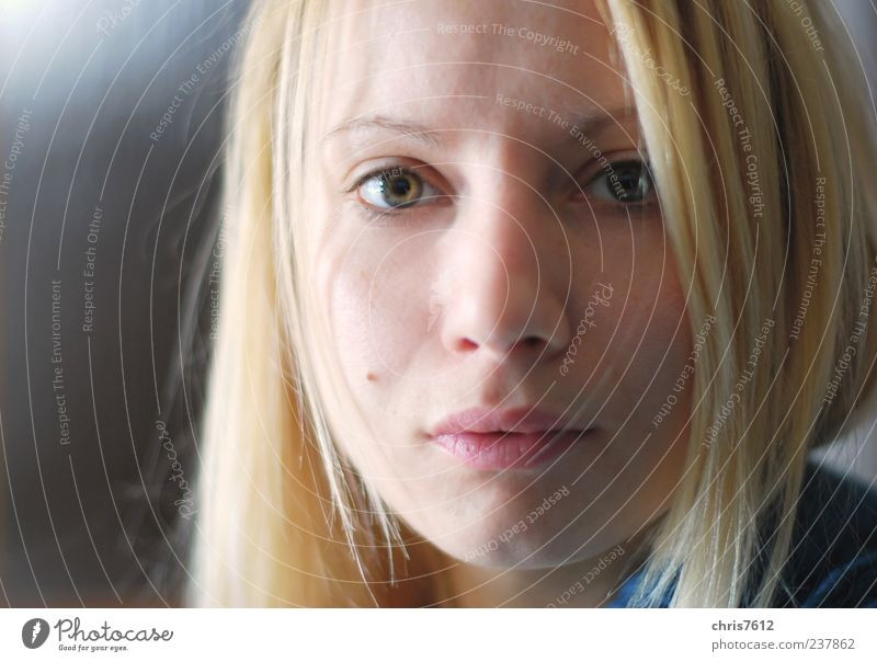 Not easy Human being Feminine Young woman Youth (Young adults) Face 1 18 - 30 years Adults Looking Beautiful Blonde Colour photo Copy Space left Light Shadow