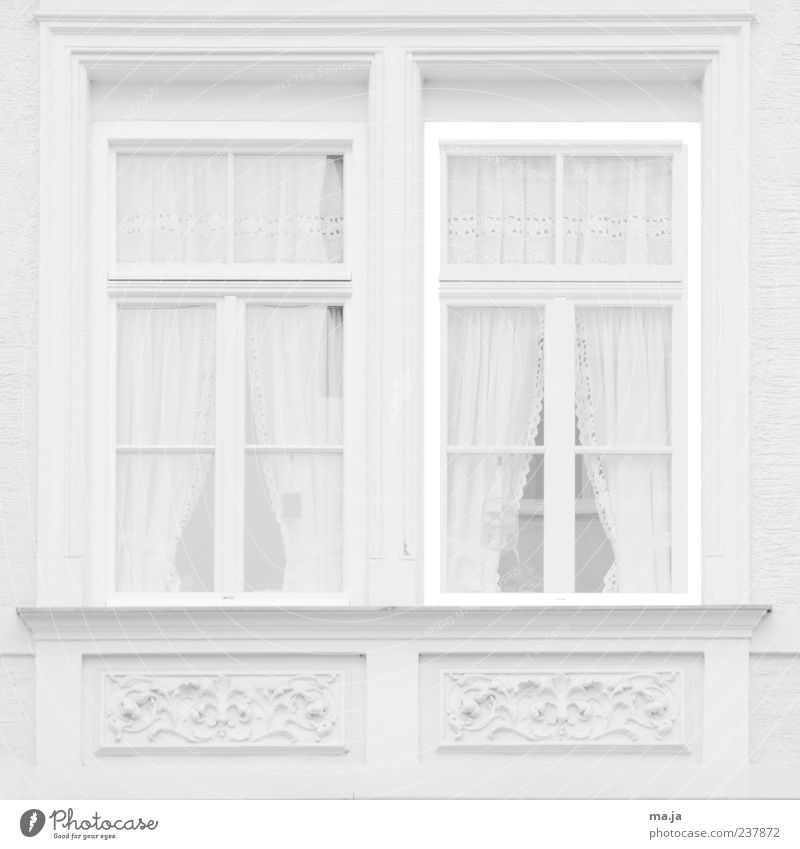 Old White House (Residential Structure) Window Architecture Building Stone Bright Decoration Uniqueness Historic Curtain Old building Stucco Black & white photo