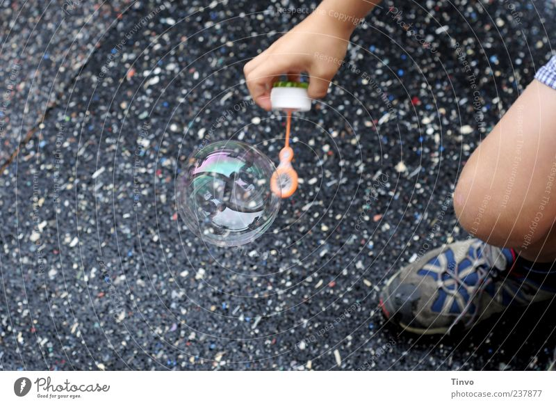 Save The World Playing Child Hand Legs Footwear Round Black Soap bubble Bubble Crouch Stoop Catch Pavement Dazzling Delicate Children's game Colour photo