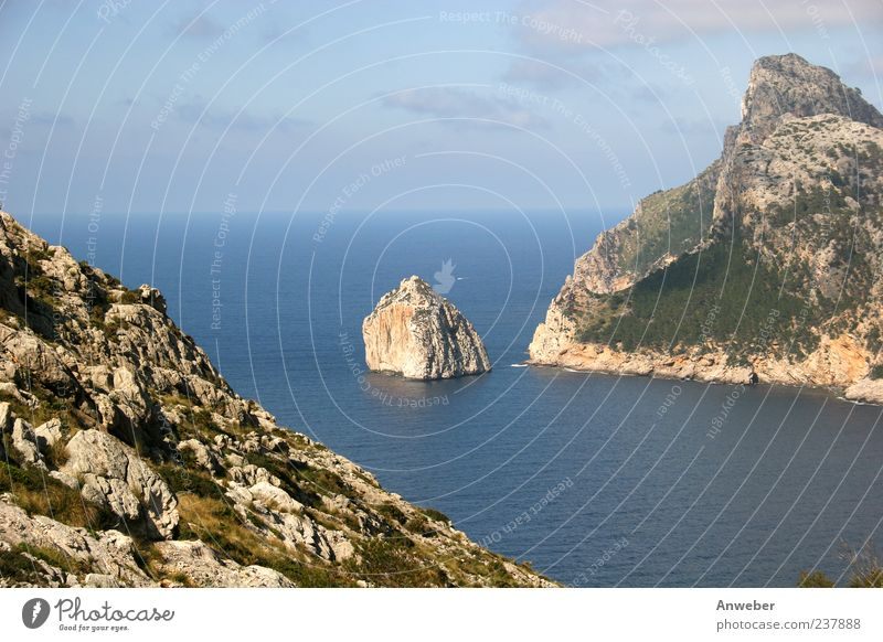 Cape Formentor on Malle Environment Nature Landscape Sky Horizon Summer Beautiful weather Plant Hill Rock Mountain Tramuntana Bay Ocean Mediterranean sea Island