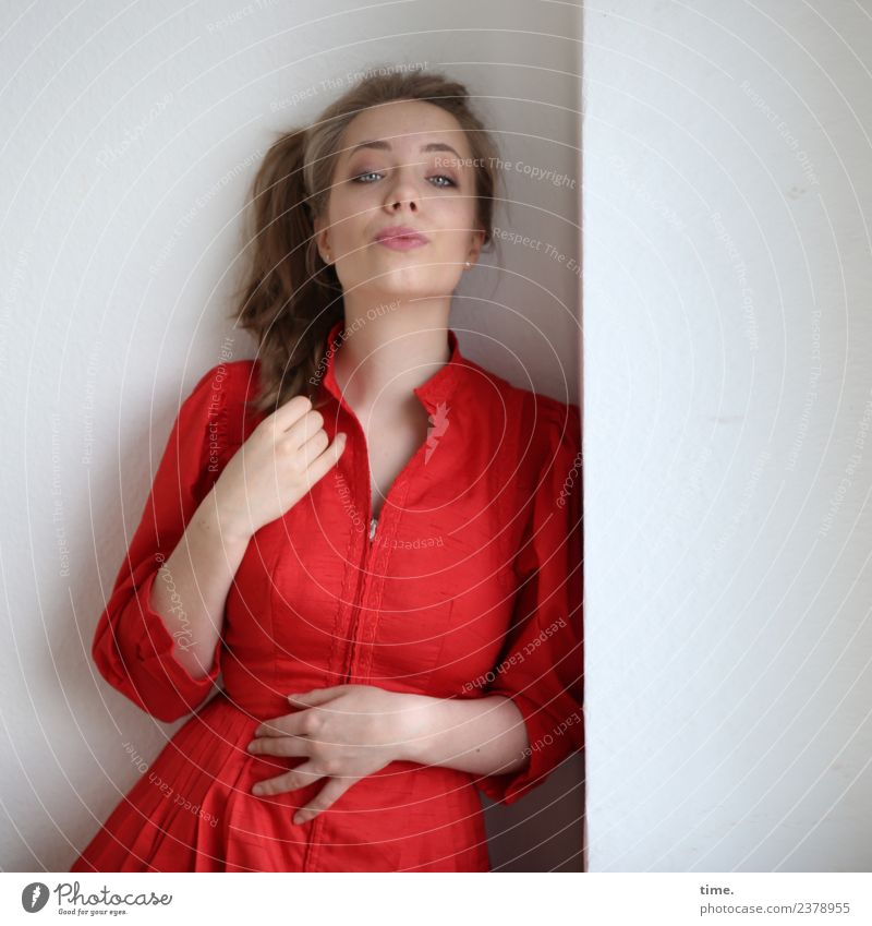 Nelly Room Feminine Woman Adults 1 Human being Dress Blonde Long-haired Braids Observe To hold on Looking Wait Cool (slang) Beautiful Red Self-confident
