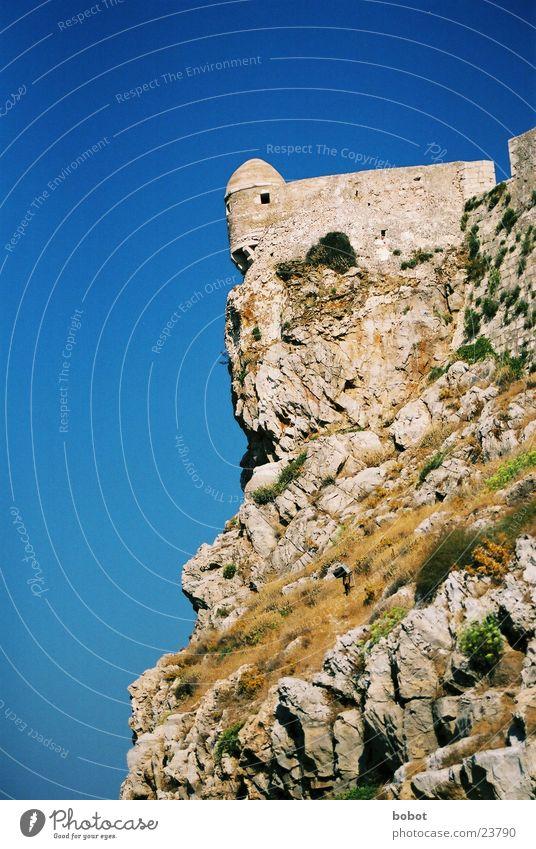 Sky Blue Stone Wall (barrier) Architecture Rock Tower Greece Cliff Defensive Fortress Mediterranean sea Gravel Crete Rethimnon