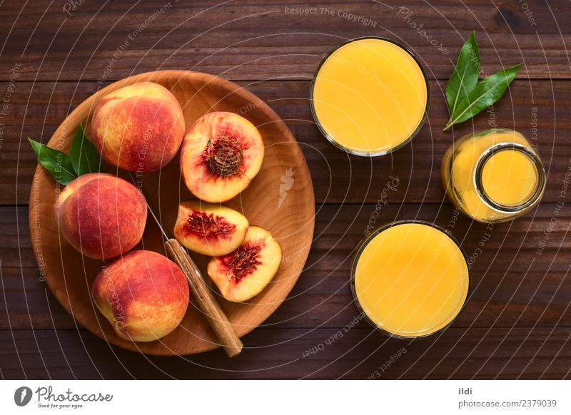 Peach Juice or Nectar Fruit Beverage Fresh food drink drupe Refreshment sweet glass healthy overhead Top Rustic Horizontal refreshing Colour photo