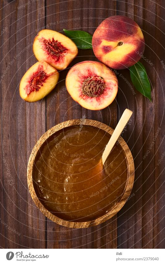 Peach Jam or Jelly Fruit Breakfast Fresh food jelly Spread sweet Snack drupe Rustic confiture Top overhead Vertical ingredient bowl spoon Colour photo