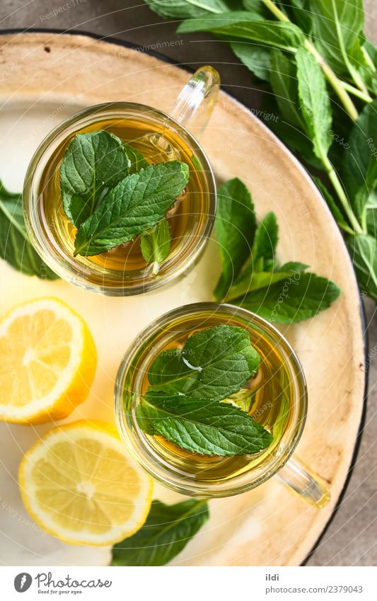 Fresh Mint Herbal Tea Herbs and spices Beverage Natural herbal drink Refreshment spearmint Aromatic remedy medicine flavor healthy cold glass cup overhead Top