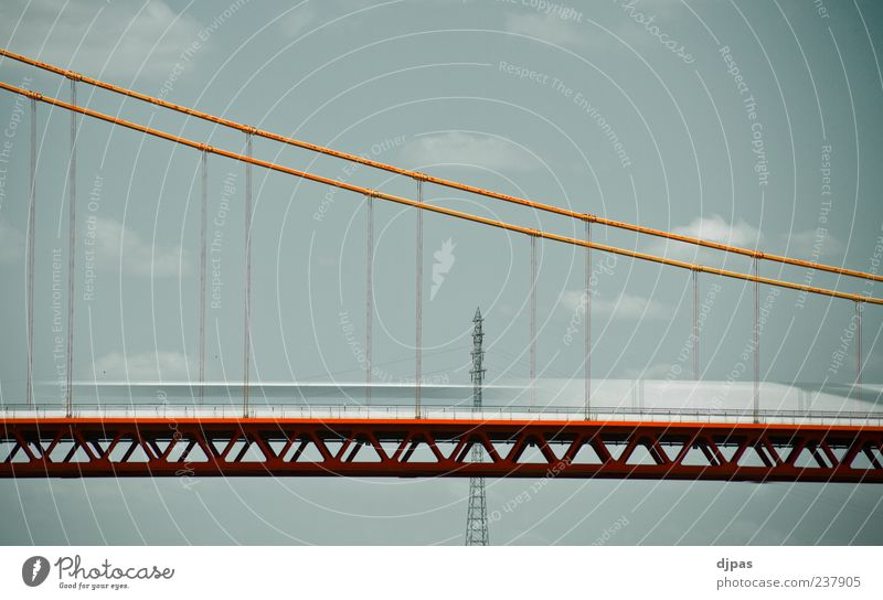 Sky Blue White Red Summer Clouds Calm Architecture Movement Gray Trip Speed Bridge Driving Road traffic Perspective