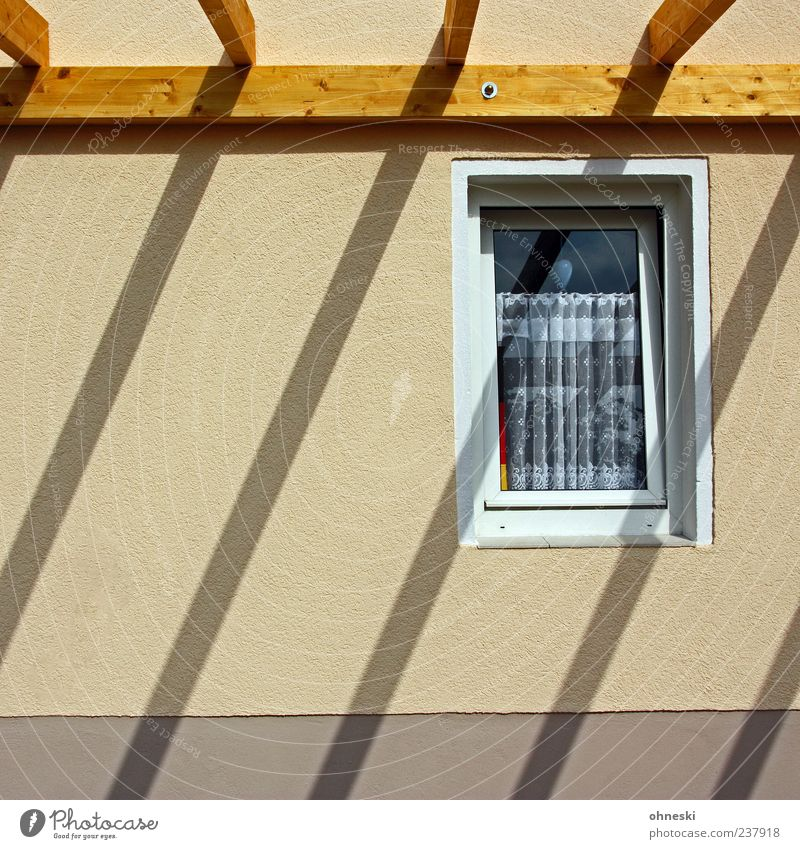 House (Residential Structure) Wall (building) Window Wood Wall (barrier) Building Bright Facade Roof Beautiful weather Curtain Weather protection Joist