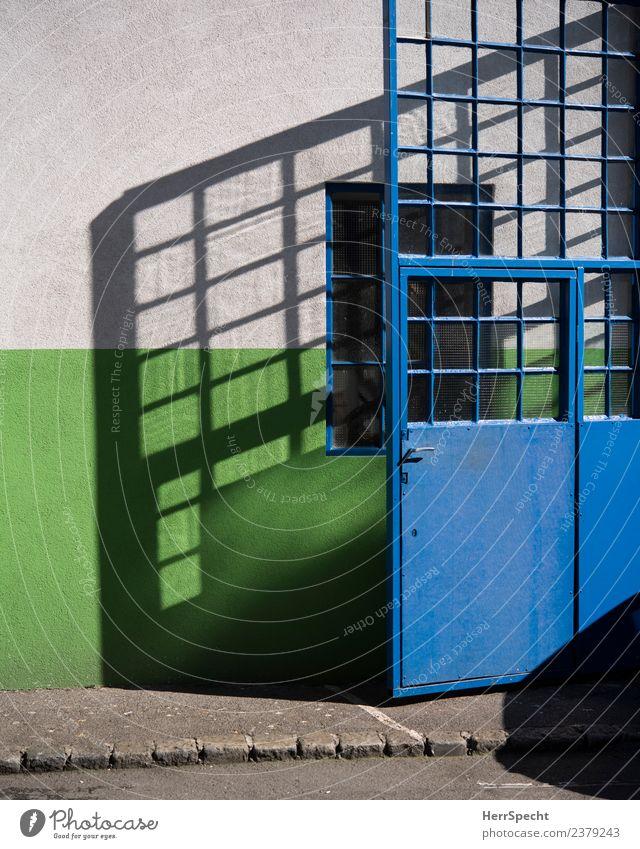 Glass door casting shadows House (Residential Structure) Building Wall (barrier) Wall (building) Window Door Sharp-edged Bright Blue Green Metal door