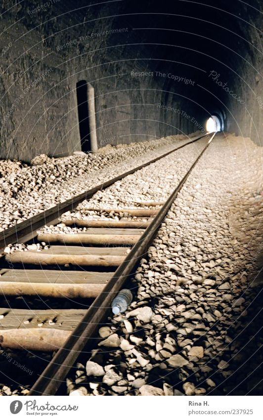 In the end there is light Tunnel Transport Train travel Rail transport Railroad tracks Vacation & Travel Authentic Hope End Exit route Subdued colour Light