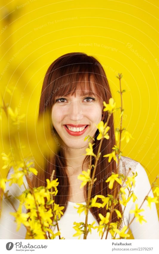 #A# Spring yellow II Art Work of art Esthetic Contentment Design Spring fever Spring flower Spring day Yellow Yellowness Yellow-gold Woman Long-haired Smiling