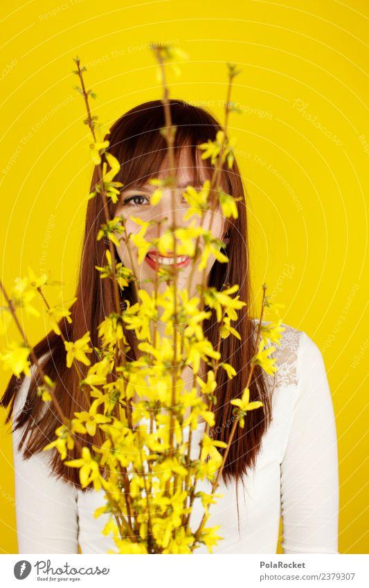 #A# Spring yellow III Art Esthetic Yellow Yellowness Yellow-gold Spring fever Spring flower Spring day Woman Forsythia Hide Colour photo Multicoloured