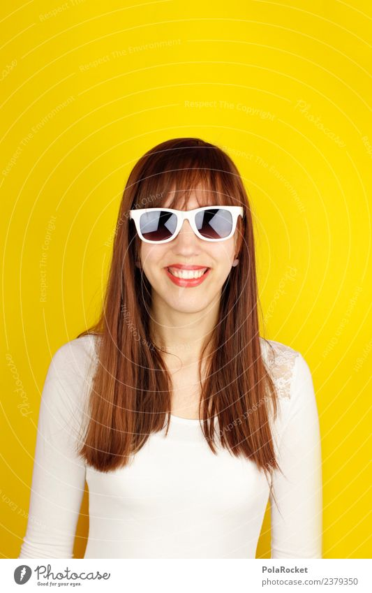 #A# Spring yellow V 1 Human being Art Esthetic Yellow Yellowness Sunglasses Long-haired Smiling Laughter Woman Feminine Gaudy Brash Friendliness Colour photo
