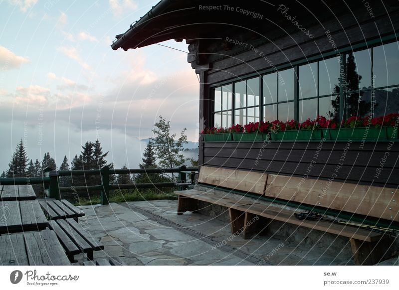 morning mood Clouds Summer Beautiful weather Alps Mountain Chalk alps Karwendelgebirge Hut Facade Window Table Bench Relaxation Dawn Vacation & Travel Freedom